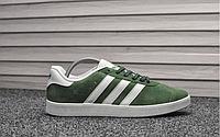 Мужские кроссовки Adidas Gazelle Green White замшевые