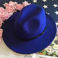 Шляпа Федора унисекс с устойчивыми полями Classic синяя (электрик), фото 1