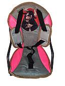 Сидение на раму для ребенка, с ремнями безопасности, розовое