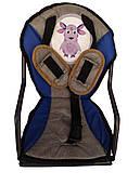 Сидение на раму для ребенка, с ремнями безопасности, синее