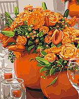 Картина по номерам Идейка Оранжевые букеты (KH3066) 40 х 50 см