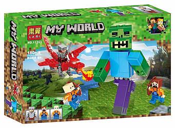 """Конструктор Bela (Larі) 11263 Minecraft """"Битва з Зомбі-велетнем"""", 180 деталей. (Аналог Лего Майнкрафт)"""