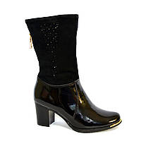 Женские зимние лаковые ботинки, декорированы молнией и стразами, фото 1