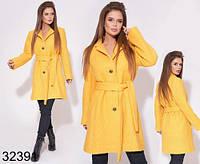 Стильное женское пальто на пуговицах с поясом р. 42-46