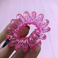 Резинки для волос прозрачные с блестками Пружинки Браслет City-A 1 шт Розовая