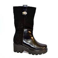 Стильные женские зимние ботинки из натуральной кожи и замши, подошва утолщенная тракторная, фото 1