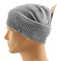 Мужские вязаные шапки Польские утепленные флисом 56 по 62 размер теплые длинные чулок