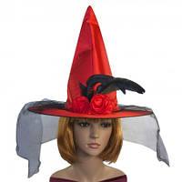 Шляпа Ведьмы атласная красная, фото 1