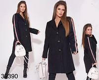 Кашемировое черное пальто на пуговицах с лампасами р. 42-46