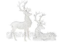 Набор из двух Оленей, цвет: белый с серебром 51 см