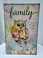 "Шкатулка книга-сейф на кодовом замке, сова с надписью ""family"", фото 1"