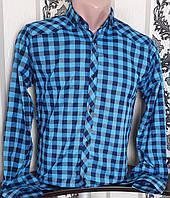 Рубашка в клетку для мальчика 6-11 лет (опт) (бирюза) (пр. Турция)