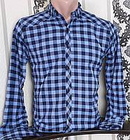 Рубашка в клетку для мальчика 6-11 лет (опт) (синяя) (пр. Турция)