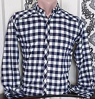 Рубашка в клетку для мальчика 6-11 лет (опт) (серая) (пр. Турция)
