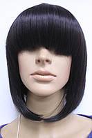 Парик искусственный стрижка каре с челкой натуральный черный цвет волос