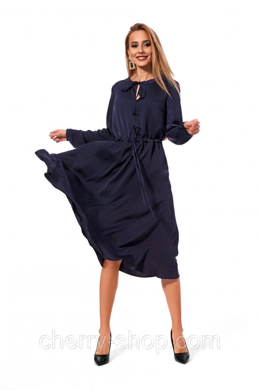 Изысканное платье длины миди красивого темно синего цвета