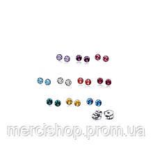10 пар сережек-гвоздиков с камнями разных оттенков