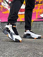 Мужские кроссовки Adidas Streetball (в стиле Адидас) черно-белые с оранжевым натуральная кожа замш