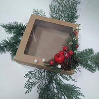 Коробка подарункова з декором 200х200х65 мм.