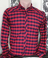 Рубашка в клетку для мальчика 12-16 лет(опт) (бордо) (пр. Турция)