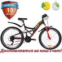 """Велосипед горный двухподвес 26"""" Formula ATLAS 2019 (черно-красный с желтым)"""