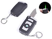 Зажигалка-брелок карманная с ножом BMW (турбо пламя)