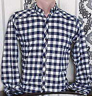 Рубашка в клетку для мальчика 12-16 лет(опт) (серая) (пр. Турция)