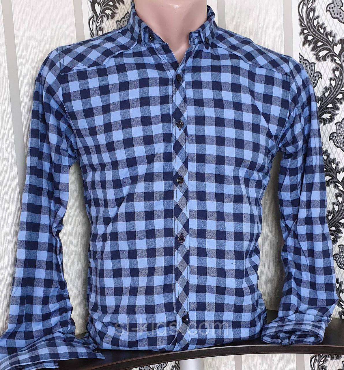 Рубашка в клетку для мальчика 12-16 лет(опт) (синяя) (пр. Турция)