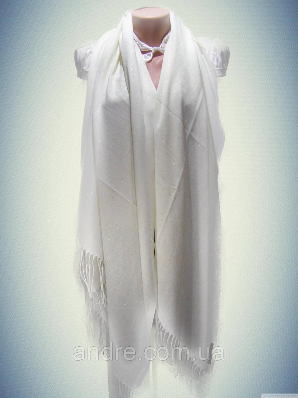 Однотонный кашемировый палантин с напылением, белый