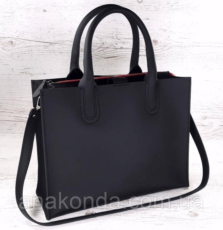 71-1 Натуральная кожа Сумка женская черная кожаная сумка женская сумка черная ультраматовая, красная подкладка