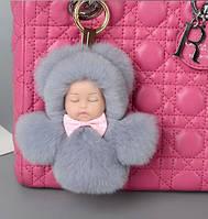 Меховой брелок на сумку. Куколка. 13 см. Темно-серый