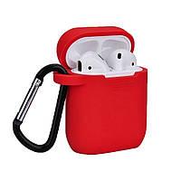 Силиконовый чехол-накладка Apple AirPods с карабином Красный