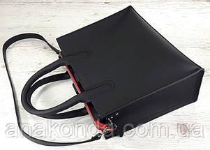 71-1 Натуральная кожа Сумка женская черная кожаная сумка женская сумка черная ультраматовая, красная подкладка, фото 2