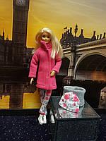 Набор одежды для Барби Игра с модой - Пальто, легинсы, шапка, шалик, фото 5