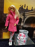 Набор одежды для Барби Игра с модой - Пальто, легинсы, шапка, шалик, фото 6