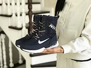 Высокие женские зимние ботинки Nike,темно синие с белым, фото 2
