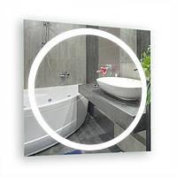 Зеркало для ванной комнаты с LED подсветкой 700*700 с рисунком D30 с включателем кнопкой