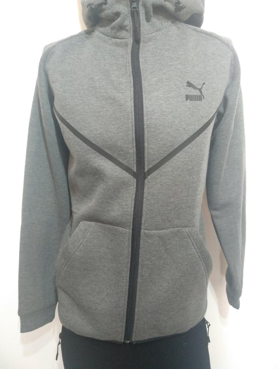 Мужской теплый спортивный костюм в стиле  Puma серый р. M, XL