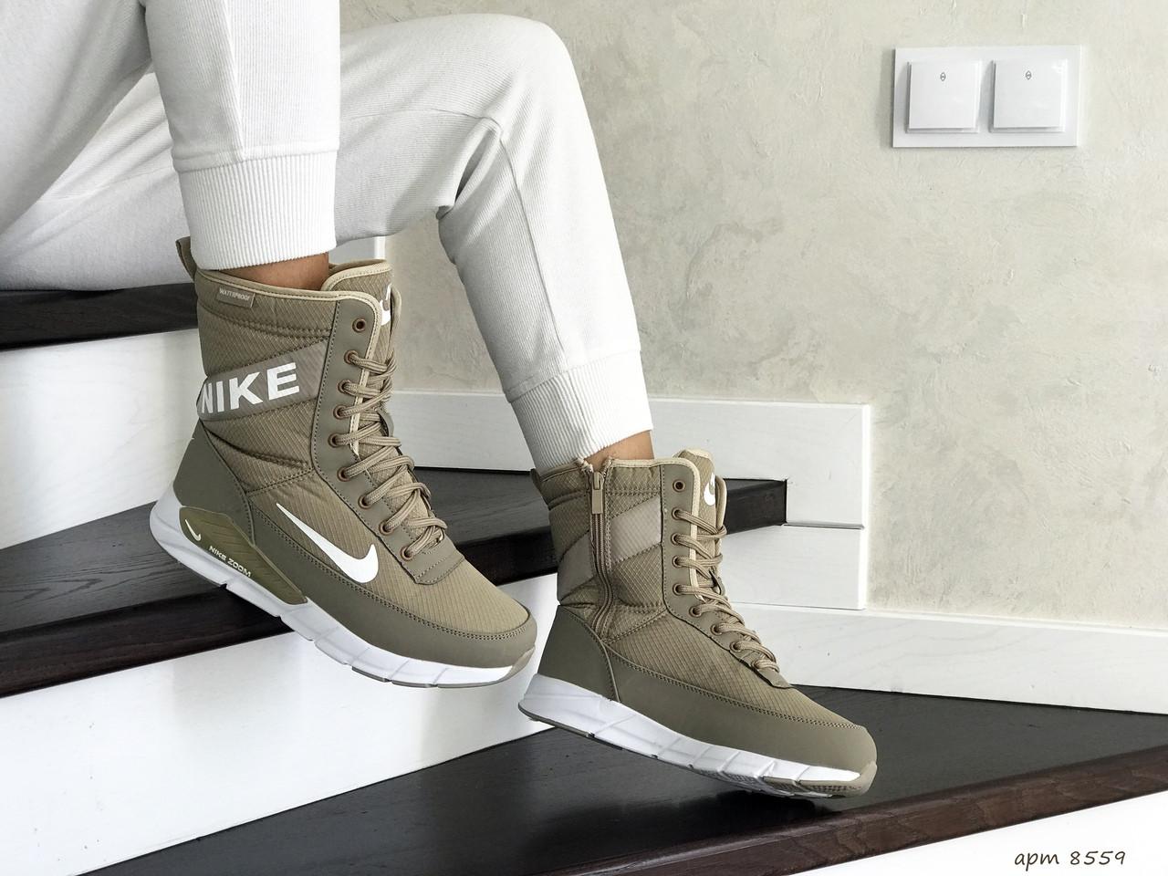 Высокие женские зимние ботинки Nike,оливковые