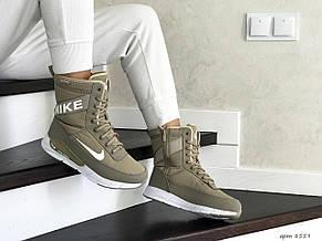 Высокие женские зимние ботинки Nike,оливковые, фото 2