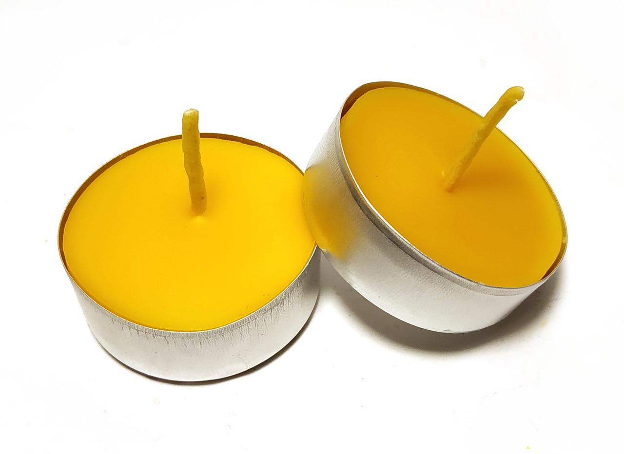 Свеча восковая чайная в гильзе из натурального пчелиного воска с ароматом меда и прополиса