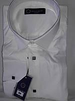 Мужская рубашка Emilio Betti vd-0044 айвори однотонная классическая текстиль жаккард Турция