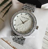 Женские часы Michael Kors (Майкл Корс) МК silver серебро с камнями и узором на циферблате