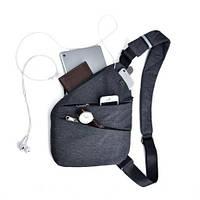 Мужская водонепронецаемая плечевая сумка мессенджер Cross Body  Gray (6016 Gray)