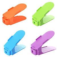 Подставка органайзер для обуви Shoe Racks комплект из 4 шт с шершавой поверхностью 25 см Разноцветная