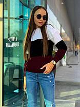 Тёплый и стильный трёхцветный свитер, размер единый 42-48, фото 2