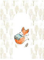 """Панелька из сатина для кокона """"Спящая лисичка и деревья"""" 80*110 см"""