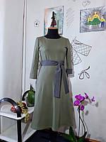 Елегантна трикотажна жіноча сукня з кишенями Женское хлопковое трикотажное платье с карманами