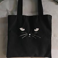 Текстильная сумка с принтом котик