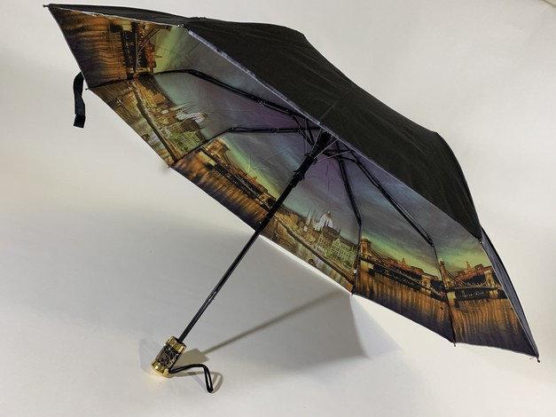 Серый женский зонт полуавтомат 9 спиц с двойной тканью и городами внутри
